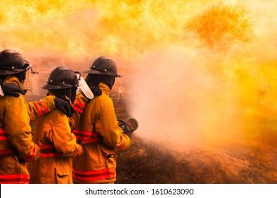 Fireman fighting a bush fire in Australia forest