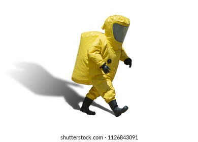 Fireman and hazard protection suit, isolated with clipping path
