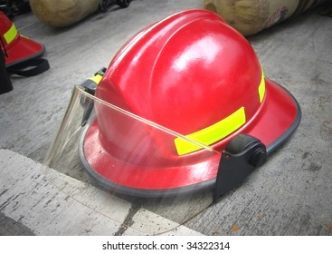 Fireman helmet on floor
