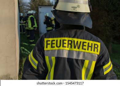 Fireman with jacket, german firefigther