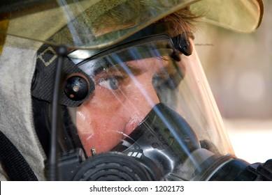 Fireman in protective equipment