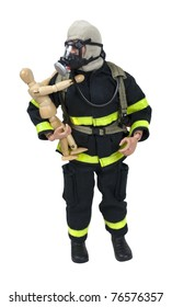 Fireman in protective gear used for fighting fires and saving lives holding a small child - path included