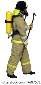 Fireman in a self contained breathing apparatus with a crowbar in his hand