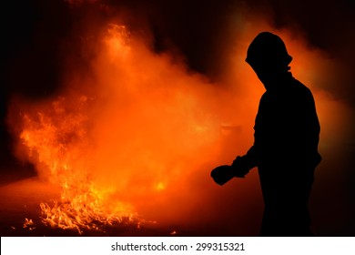 Fireman shadow, Man in fire show after Firefighters training, Rehearse of firefighters from cooking.