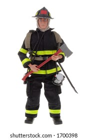 a fireman toy doll with an axe in his hand