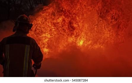 Fireman Training on Live Fire