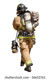 Fireman Walking with a Fire Hose and Mask