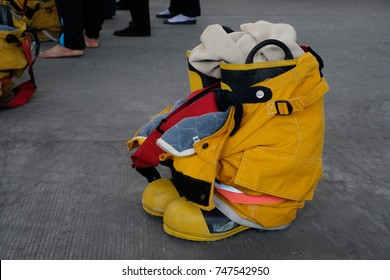 Fireman's uniform yellow.Firefighter's boots and trousers.