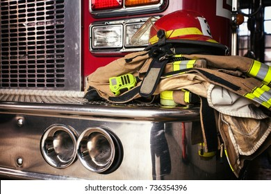 Firemen gear on firetruck