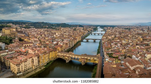 Firenze (Florence) aerial panorama view  with the Ponte Vecchio over the Arno river