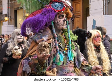 Firenze, Florence / Italy - March 15 2019: During the Firenze Fantasy Festival, the city was full of cosplayers. Here some cosplayers dressed as supernatural creatures are walking in the downtown.