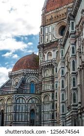 FIRENZE/ ITALY AUG 2017 - Detail of the Duomo Santa Maria del Fiore and Baptistery of San Giovanni, in Firenze (Italia). Florence Cathedral (Italy), Santa Maria del Fiore, Brunelleschi's Dome, symbol