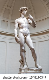 Firenze, Italy - August 30, 2018: Vertical view of famous Florence Accademia art museum gallery David statue by Michelangelo