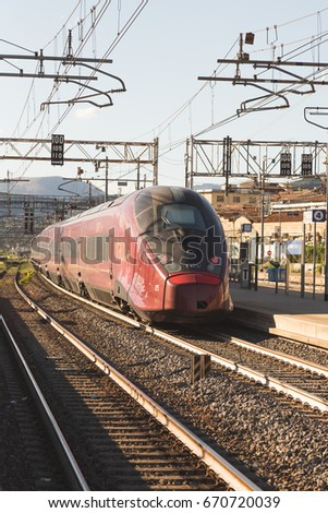 f82f38a9d24cb FIRENZE - ITALY: CIRCA JULY 2017: Italo AGV Alstom train is arriving at the