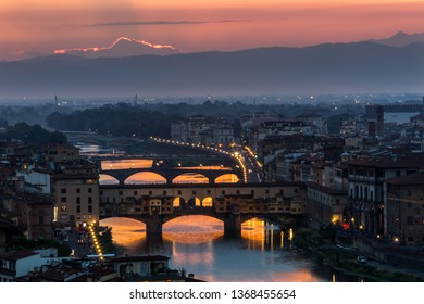 Firenze Italy July 21, 2015 Aerial view of Florence skyline with Duomo, Palazzo vecchio and Arno river Florence
