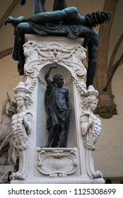 Firenze, Italy - June 21, 2018 : Statue in Loggia dei Lanzi (The base of the sculpture Perseus with the Head of Medusa)