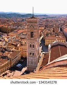 Firenze, Italy - June 29,2018: Cathedral, the dome of Brunelleschi, Campanile di Giotto, Piazza del Duomo, Firenze, Tuscany, Italy