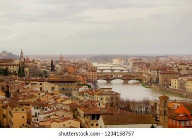 Firenze, Italy - March, 2018: inspiring view of Firenze
