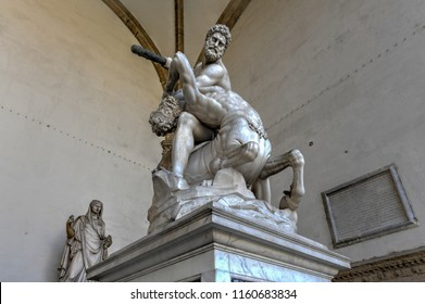 Firenze, Italy - March 21, 2018 : Statue in Loggia dei Lanzi (Hercules and Nessus) in Florence, Italy.