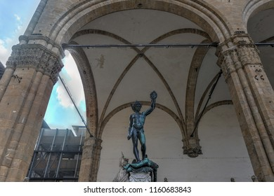 Firenze, Italy - March 21, 2018 : Statue in Loggia dei Lanzi (Perseus with the Head of Medusa) in Florence, Italy.