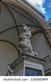 Firenze, Italy - March 21, 2018 : Statue in Loggia dei Lanzi (The Rape of the Sabine Women) in Florence, Italy.