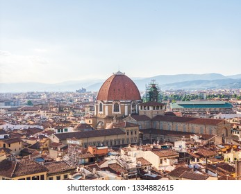 Firenze, Italy - May 26, 2017 - Views of the Basilica di San Lorenzo church and the Cappelle Medicee from Santa Maria del Fiore cathedral