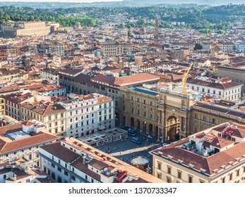 Firenze, Italy - May 26, 2017 - Views of the Piazza della Repubblica in Firenze (Italy)