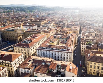 Firenze, Italy - May 26, 2017 - Views of  the Firenze roofs from Santa Maria del Fiore cathedral