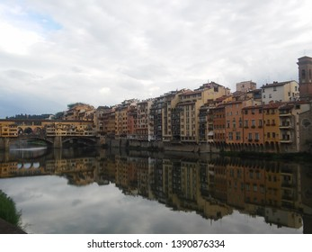 FIRENZE, ITALY - September 15, 2016: Firenze view in Arno river with Ponte Vecchio