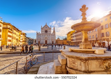 FIRENZE,ITALY/JANUARY 03,2012: Florence-Square and the Basilica of Santa Croce