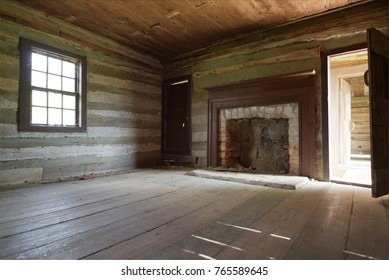 Fireplace in a abandoned cabin