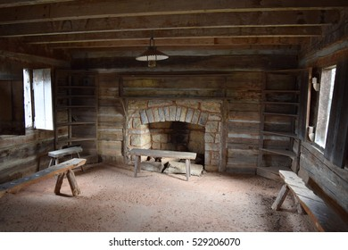 fireplace in a cabin