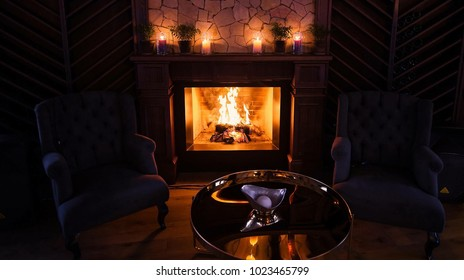fireplace and candles in the house