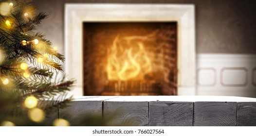 Fireplace and desk of free space for your decoration with christmas tree