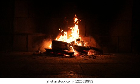 fireplace fire and embers