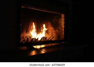 Fireplace flames burning