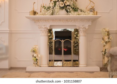 fireplace, flowers, luster