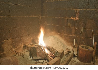 fireplace with a furnace for drying meat