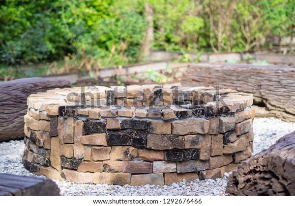 Fireplace Garden Fireplace Design Outdoor Circle Stock Photo Edit