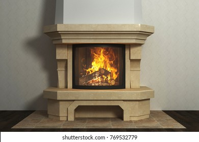 Fireplace in home interior