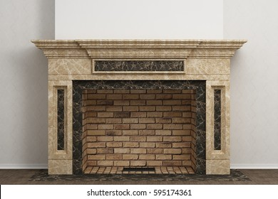 Fireplace in the light interior of home