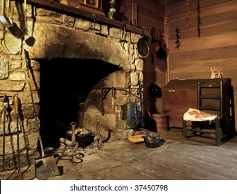 fireplace in mountain cabin