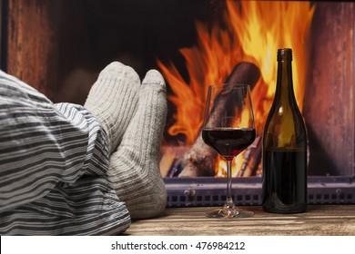 fireplace relax winter fall autumn  rustic dark wooden floor light pyjama
