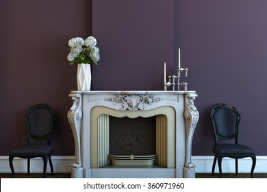 fireplace with violet wall and chairs 3D rendering