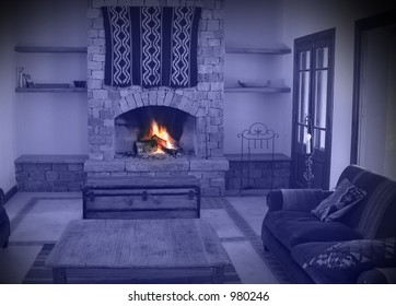 Fireplace of a warm house