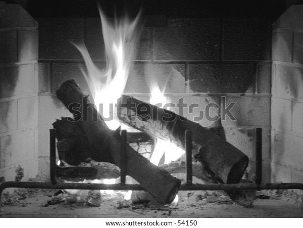 Fireplace in Winter - Black & White