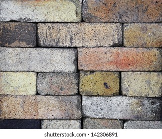 Fireproof bricks stacked like wall - background