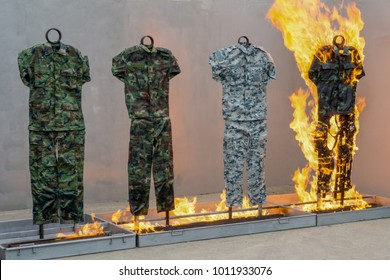 Fireproof test on military fabric