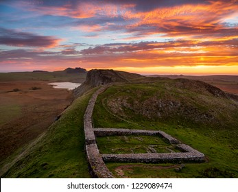 Firery sunrise over Milecastle 39 on Hadrian's Wall.
