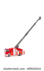 firetruck with ladder extended on white background